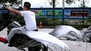 Man Rides Self designed Ghoulish Flying Motorcycle
