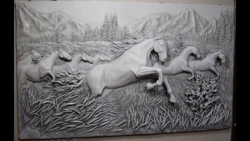 Барельеф лошади, bas-relief of horse