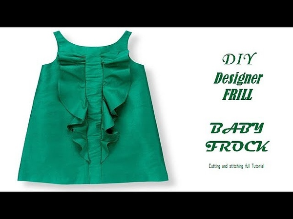 DIY Designer Frill Ruffle BABY FROCK cutting and Stitching full tutorial