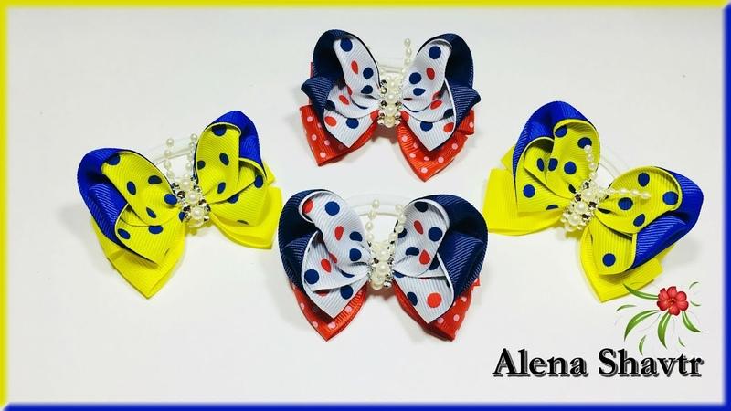 Мини бантики 🎀 бабочки 7 см🎀МК🎀Laço de fita🎀Ribbon bow