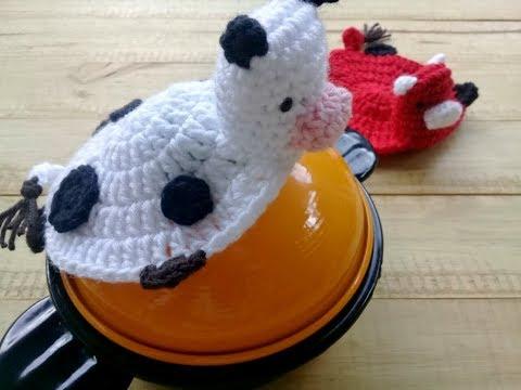 Agarradera de ollas vaca o vaquita tejida a crochet