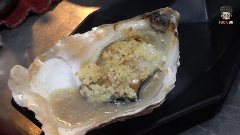Grilled Giant Oyster Taiwanese Street Food Kaohsiung Taiwan