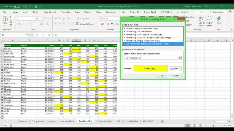 Условное форматирование с использованием формул