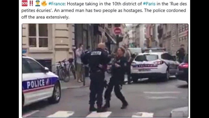 France Hostage taking in the 10th district of Paris in the 'Rue des petites écuries' An armed man has two people as hostages