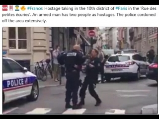 France: Hostage taking in the 10th district of #Paris in the 'Rue des petites écuries'. An armed man has two people as hostages.