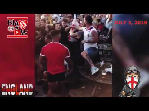 ENGLISH FANS ARE HAVING FUN AT THE BAR AFTER THE MATCH ENGLAND VS COLOMBIA JULY 3, 2018