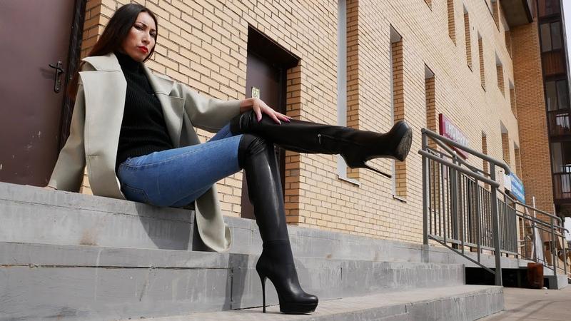 Bella's platform high heels Gianmarco Lorenzi over knee thigh boots Size EU 38 US 7,5