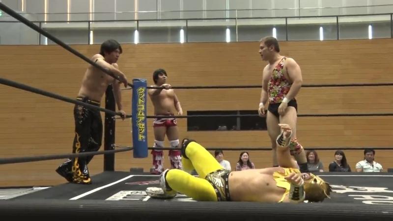Hiratimo Dragon, Takatimo Dragon, Toru Owashi vs. Antonio Honda, KUDO, Nobuhiro Shimatani (DDT - Road To Ryogoku 2018 ~ Dramatic