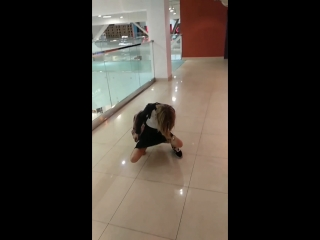 Nastya sat on the bottle in a public place