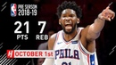 Joel Embiid Full Highlights 76ers vs Magic 2018.10.01 - 21 Points, 7 Reb in 3 Qtrs!