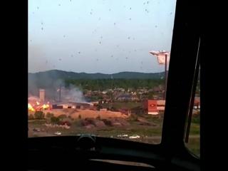 Тушение пожара самолётом БЕ-200ЧС Хабаровского АСЦ МЧС России