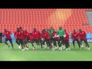 In Everything Is Choreography: Senegal dancing and singing during World Cup 2018 training session