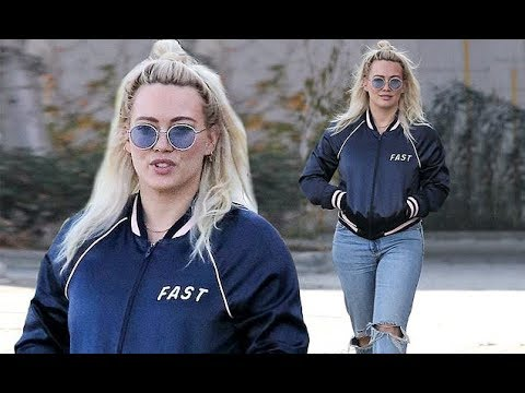 Hilary Duff rocks bomber jacket ripped jeans while out in LA