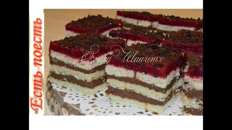 Торт без выпечки шоколадно-ягодный