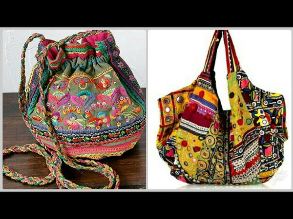 Stylish hand bag ethnic Bright hand bag and purse designs with embroidery bag designs