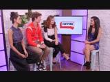 Лили Джеймс, Энсел Эльгорт и Эйса Гонсалес для «Clevver News» в рамках промоушена фильма «Малыш на драйве»