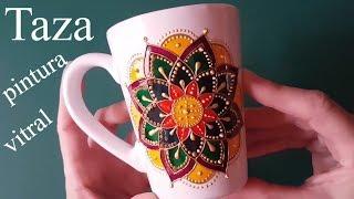 Como pintar tazas de cerámica - Mandala con pintura vitral