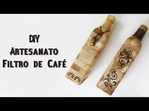DIY: Como Fazer GARRAFA DECORADA com Filtro de Café Usado - Artesanato e Reciclagem
