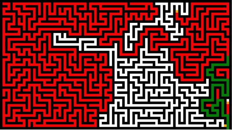 Visualization of the labyrinth generation algorithm maze solsing