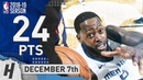 JaMychal Green Full Highlights Grizzlies vs Pelicans 2018 12 07 24 Pts 8 Rebounds