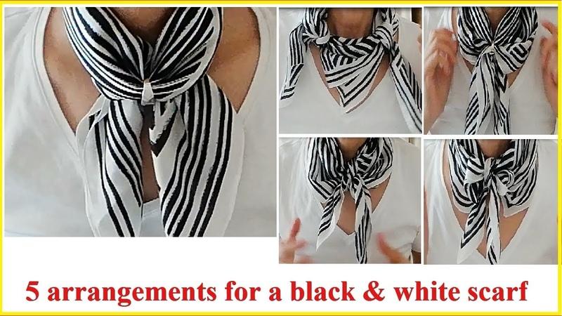 ♥モノトーンスカーフのちょっと変わった5アレンジ 5 unique attangements for a balck white scarf