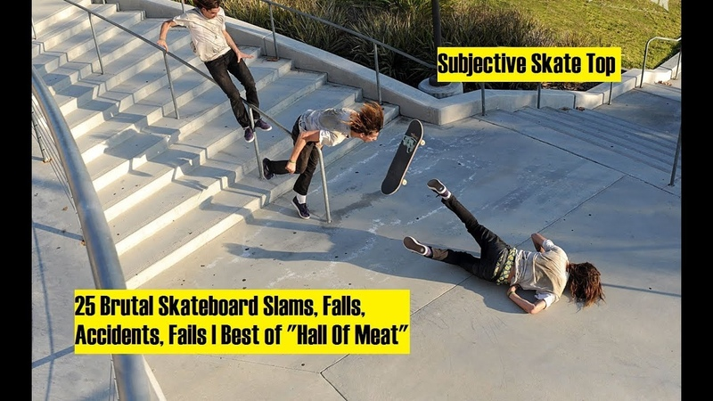 25 Brutal Skateboard Slams, Falls, Accidents, Fails | Best of Hall Of Meat