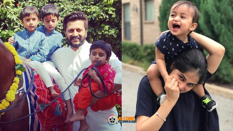 Actor Ritesh Deshmukh Family Photos with Wife Genelia Son Riaan Rahyl Pics