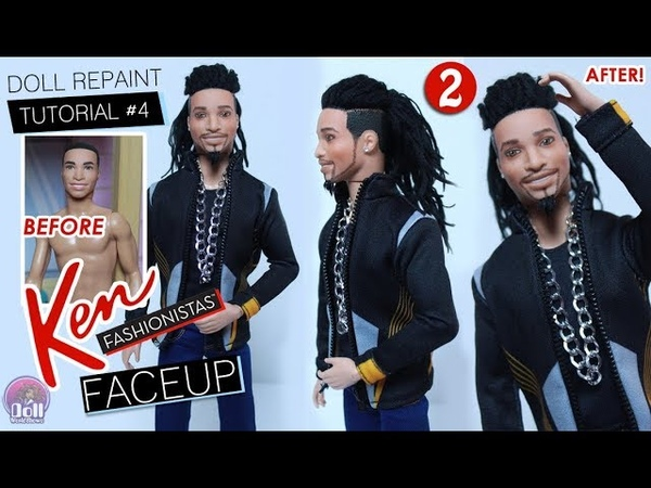 Ken Doll REPAINT Beard Tutorial on Floral Tee Fashionista 2