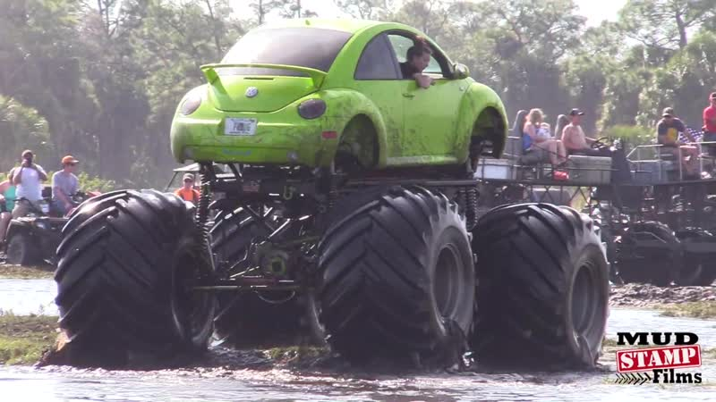 MONSTER VW BEETLE FLOATS THE POND!