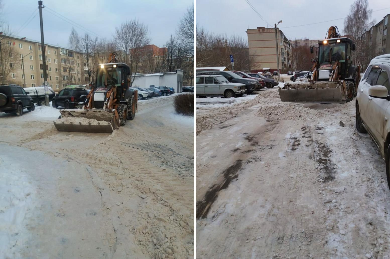 Убираем снег на проспекте Испытателей и в микрорайоне Северный