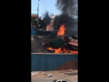 Man Escapes Semi Truck Engulfed in Flames __ ViralHog
