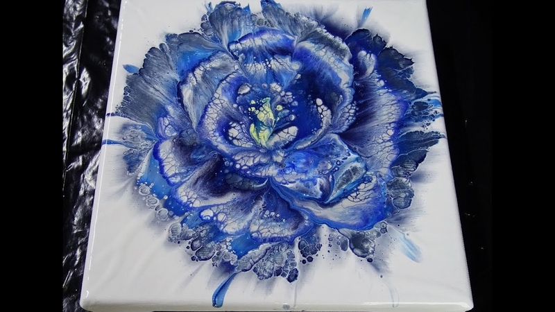 124 Spiral flower dip Acrylic pouring techniques Fluid art
