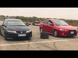 Mitsubishi lancer X (turbo 300 h.p+) vs Honda civic type-R .( кто кого)