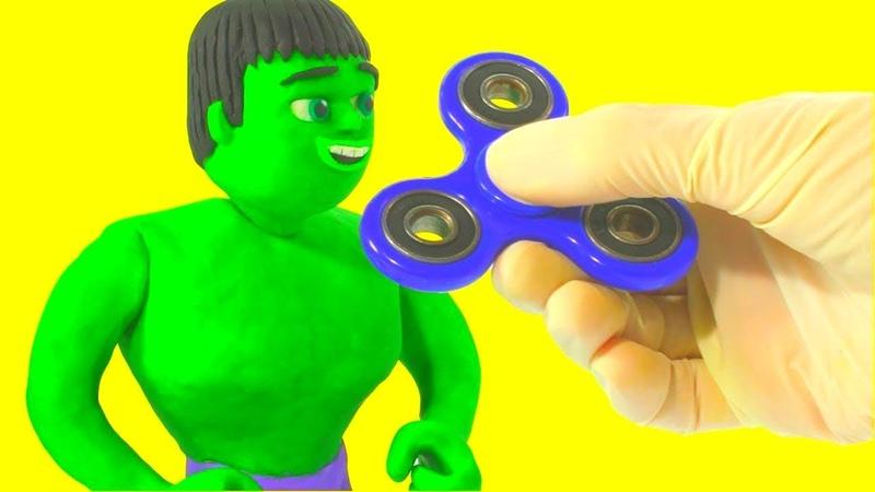 HULK USES FIDGET SPINNER ❤ Spiderman, Hulk Frozen Elsa Play Doh Cartoons For Kids