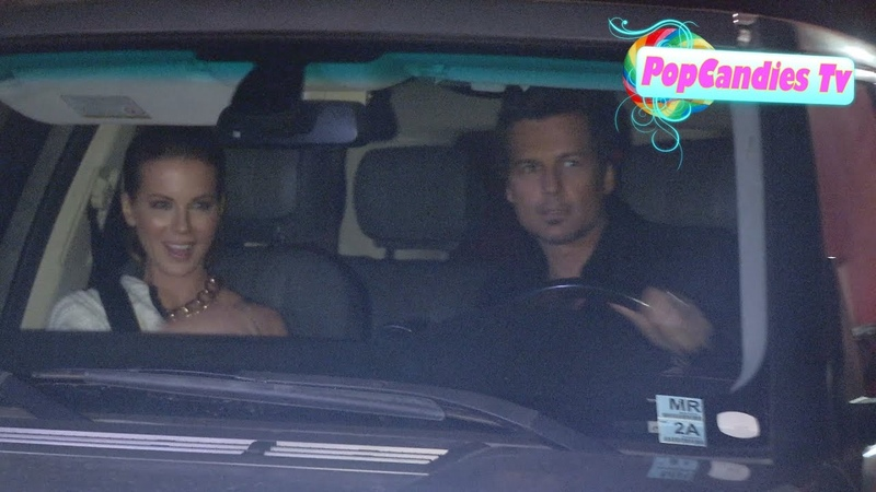 Kate Beckinsale Len Wiseman greet paparazzi departing Beachers Madhouse Party at Craigs in WeHo