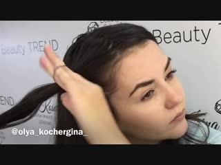 Коса с помощью резинок @olya_kochergina