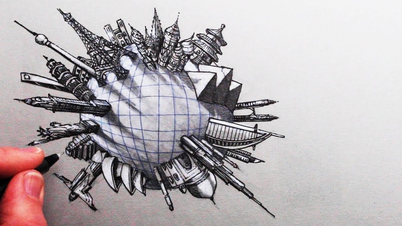How to Draw Famous Buildings Around the World in 5-Point Perspective Narrated