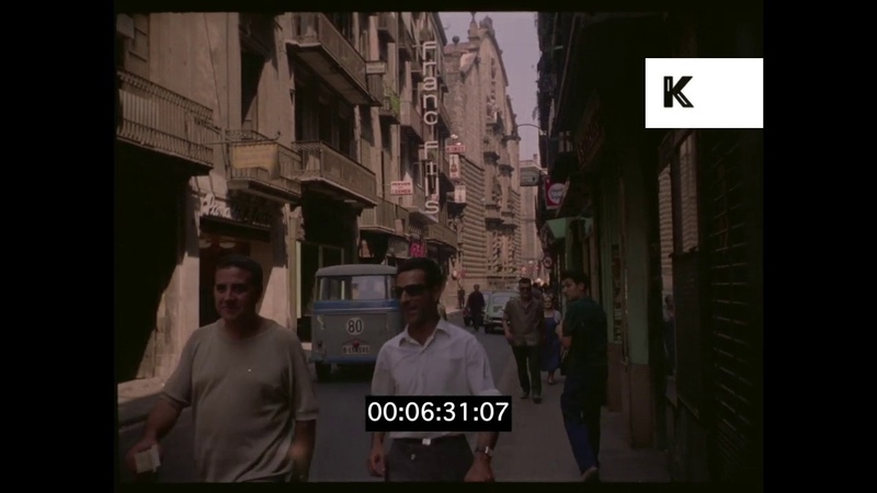 1960s Barcelona, Traffic, Streets, Hotels, HD from 35mm