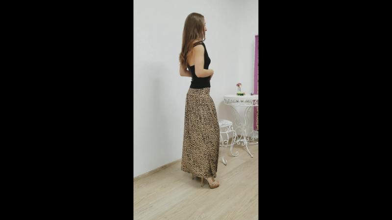 Юбка макси леопардовая
