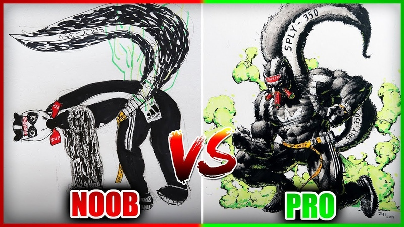 PRO REDRAWS NOOB'S DRAWING - (Hype Skunk) Drawing with my Best Friend Art Challenge