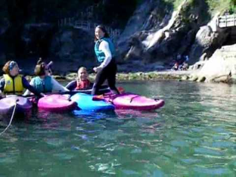 Hilarious kayaking no 3 - birthday party laughs - see them fall in