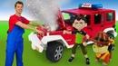 Видео для детей Веселая школа. Игрушечные машинки сломались Бен Тен в Автомастерской!