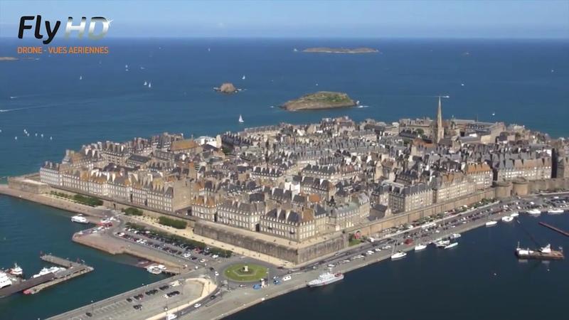 Vues aériennes de Saint Malo en Bretagne filmé avec un drone