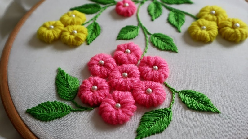 Hand Embroidery : Loose Bullion Knot ( Cushion Cover Designs )