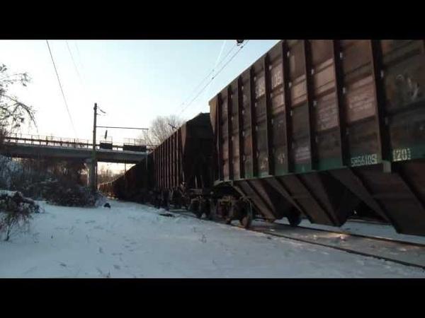 Три грузовых поезда