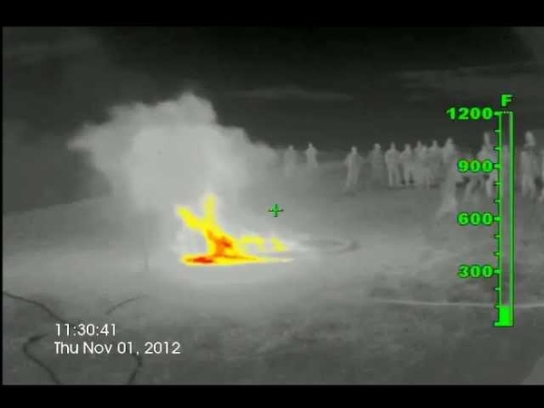 Infrared extinguishing 4ft kerosene pool fire with dry ice