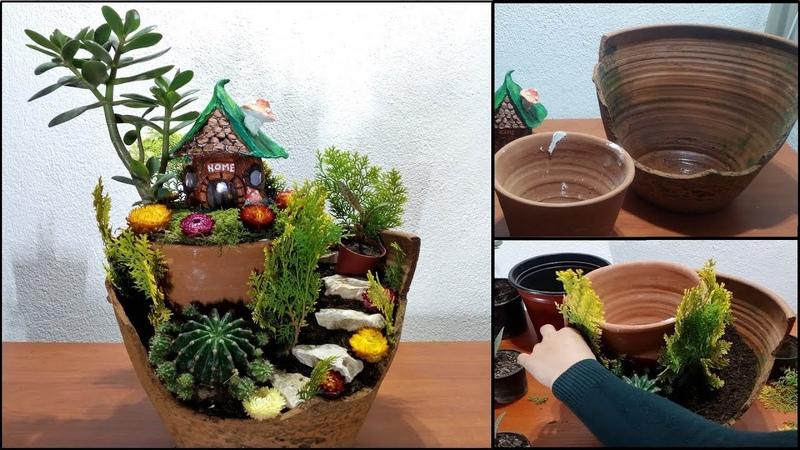 From a broken vase to a perfect homemade fairy garden