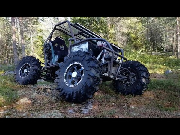 Rear steering test. Home made offroad buggy 4x4 1000cc 4wheel steering