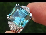 GIA Certified Natural FLAWLESS Blue Zircon &amp Diamond 18k White Gold Ring GEM - C351