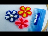 Hand Embroidery, Double Color Flower Tricks, Flower Tricks with Hair Comb, Crafts &amp Embroidery